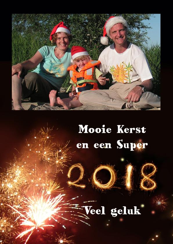 Kerstkaarten - Kerst Vuurwerk - fotokaart