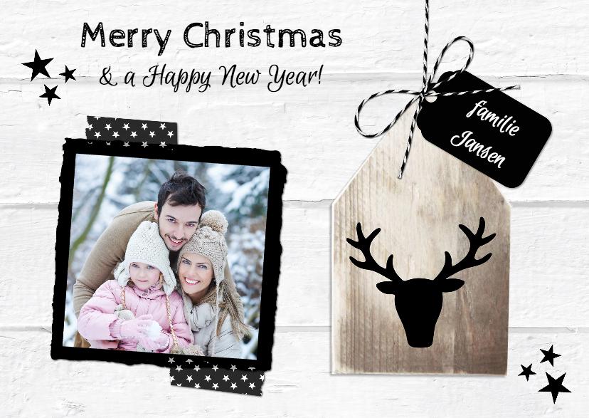 Kerstkaarten - Kerst Wit Hout Huisje Rendier LI