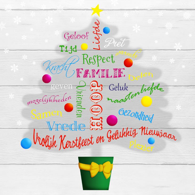 Kerstkaarten - Kerst woordenkaart - kerstboom
