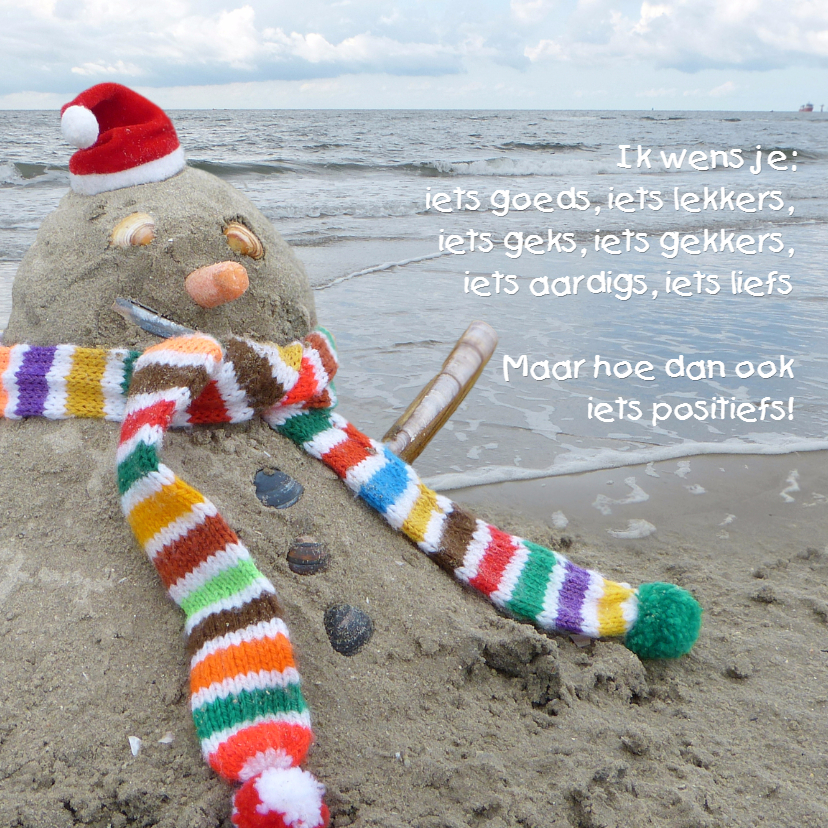 Kerstkaarten - Kerst zand sneeuwpop