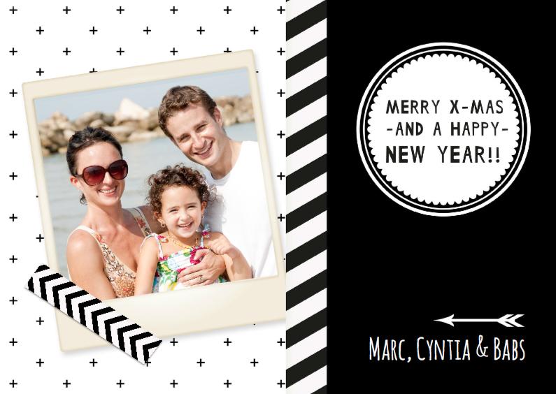 Kerstkaarten - Kerst Zwart Wit Hip Polaroid