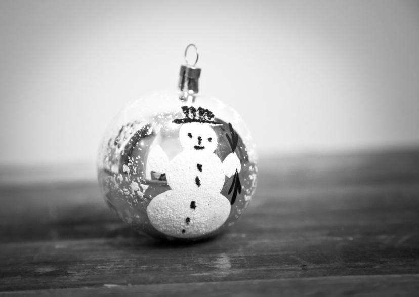 Kerstkaarten - kerstbal met sneeuwpop