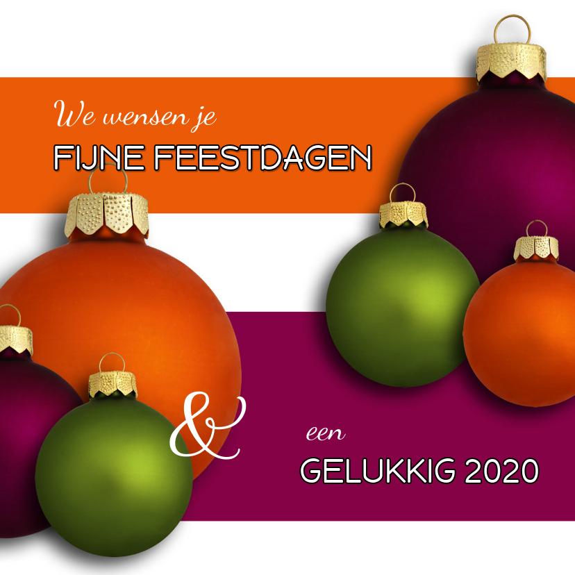 Kerstkaarten - Kerstkaart Kerstballen paars oranje groen