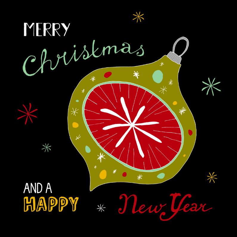 Kerstkaarten - Kerstbal retro groen zwart