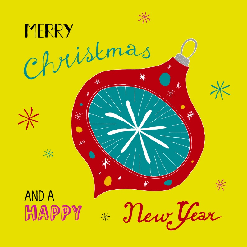 Kerstkaarten - Kerstbal retro rood geel