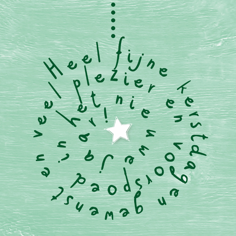 Kerstkaarten - Kerstbal tekst mintgroen