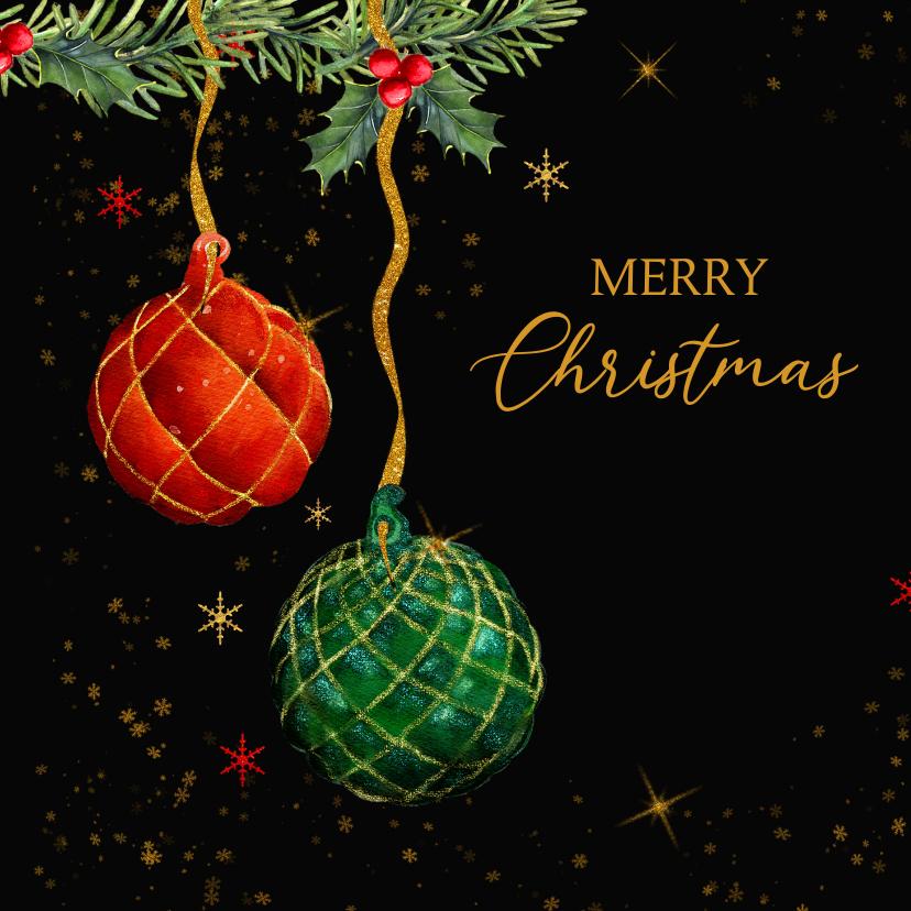 Kerstkaarten - Kerstballen takjes