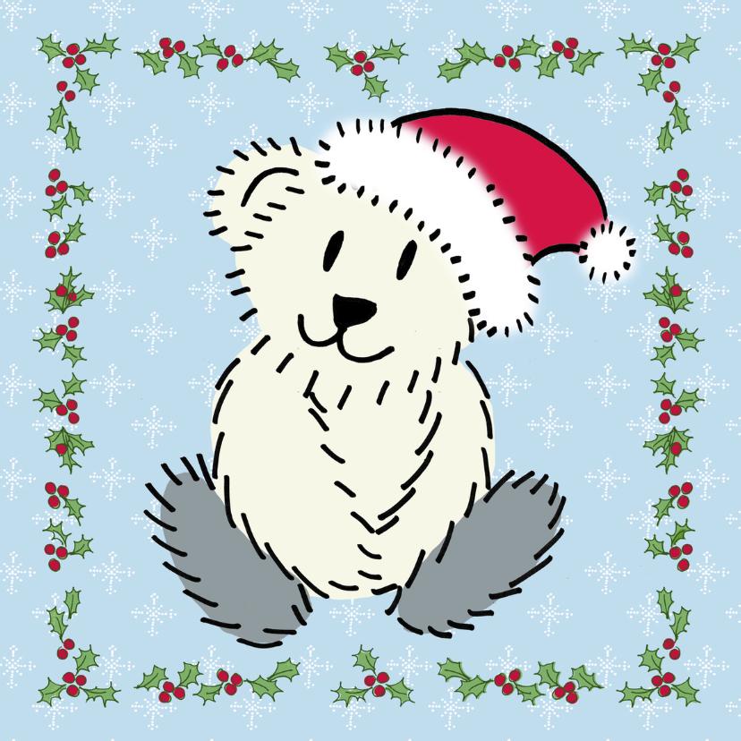 Kerstkaarten - Kerstbeer met hulst