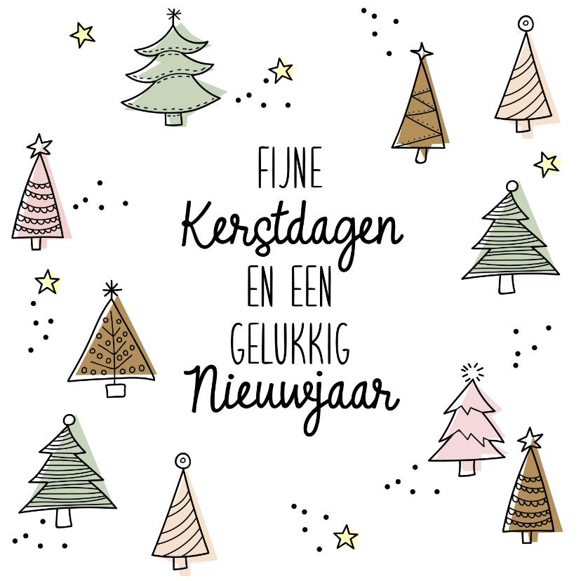 Kerstkaarten - Kerstbomen doodle