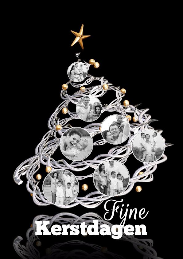 Kerstkaarten - Kerstboom met fotoballen als collage