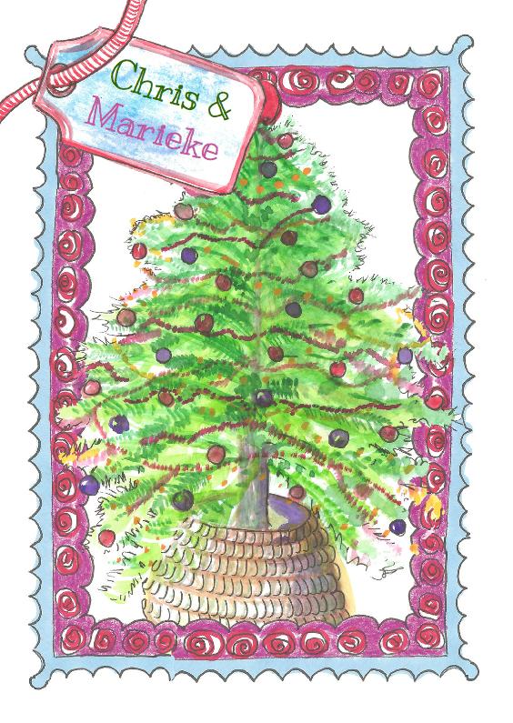 Kerstkaarten - Kerstboom met frame en label
