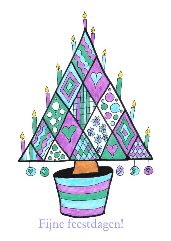 Kerstkaarten - Kerstboom met kaarsen