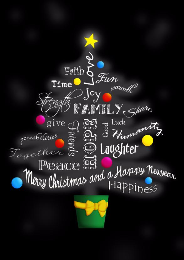 Kerstkaarten - Kerstboom met woordenkaart 2