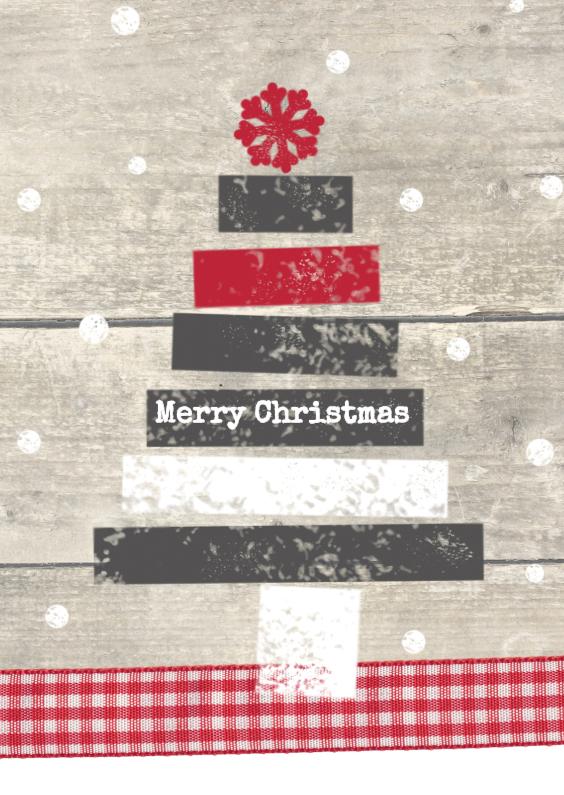 Kerstkaarten - Kerstboom op houtprint