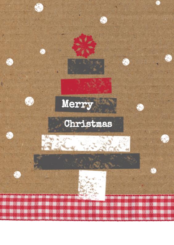 Kerstkaarten - Kerstboom op karton achtergrond