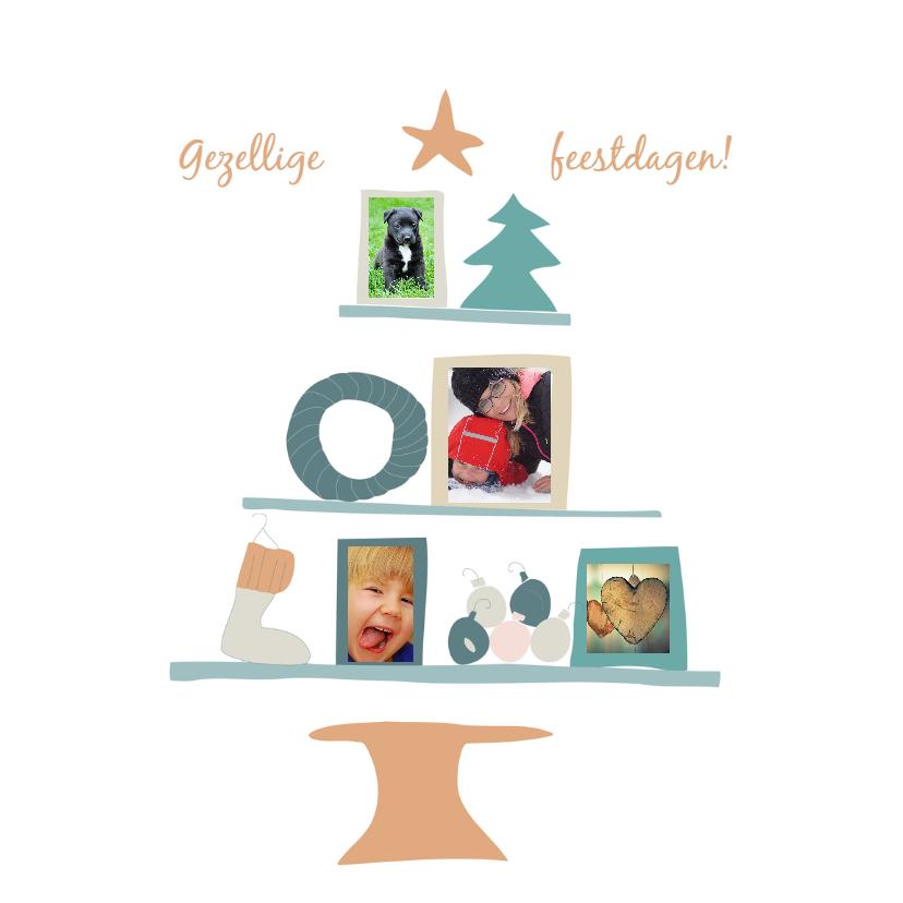 Kerstkaarten - Kerstboom pastel met fotokaders