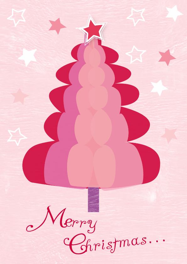Kerstkaarten - Kerstboom vrolijk roze