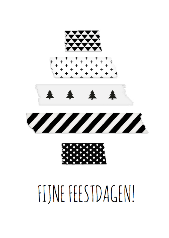 Kerstkaarten - Kerstboom Washi tape Zwart Wit