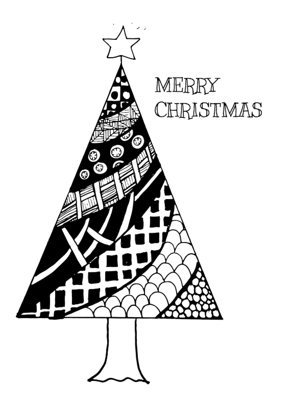 Kerstkaarten - Kerstboom Zentangle - DH