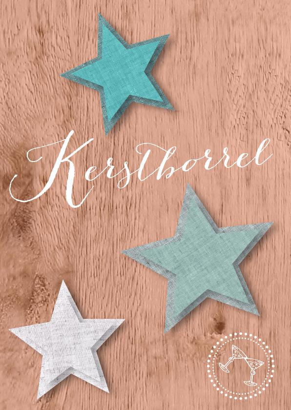 Kerstkaarten - Kerstborrel trendy hout ster