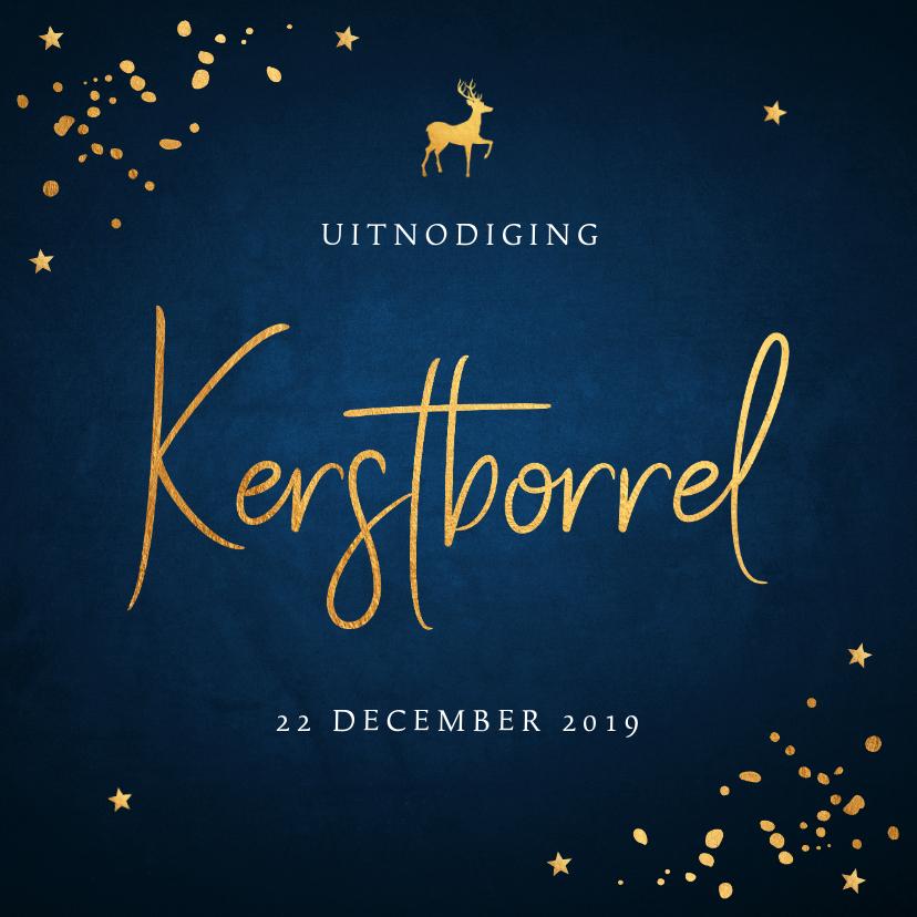 Kerstkaarten - Kerstborrel uitnodiging donkerblauw confetti goudlook