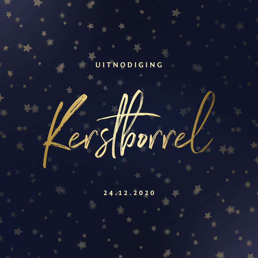 Kerstkaarten - Kerstborrel uitnodiging goud met sterren