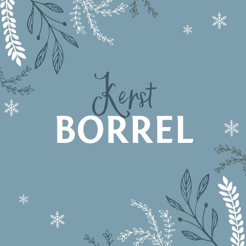 Kerstkaarten - Kerstborrel uitnodiging stijlvol winter pastel blauw