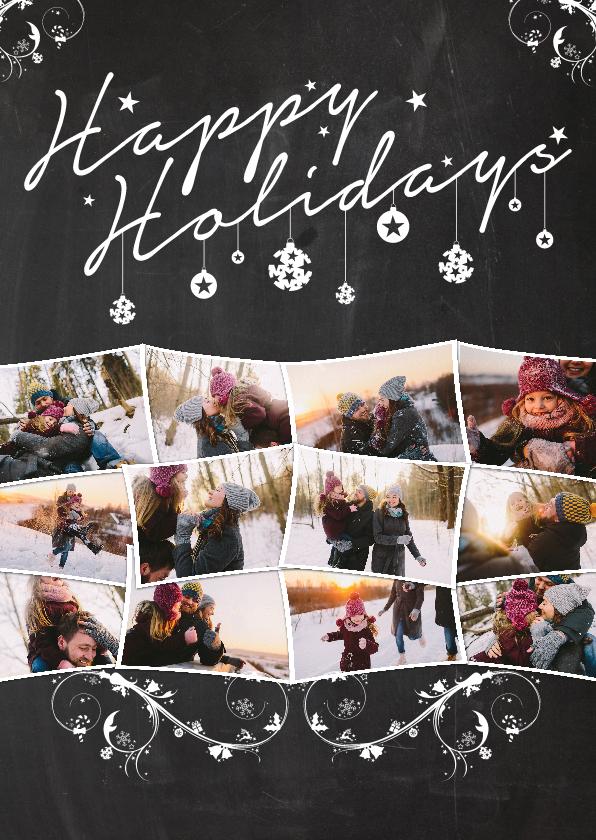 Kerstkaarten - Kerstcollage krijt 12 foto's