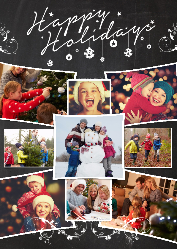 Kerstkaarten - Kerstcollage krijt 9 foto's