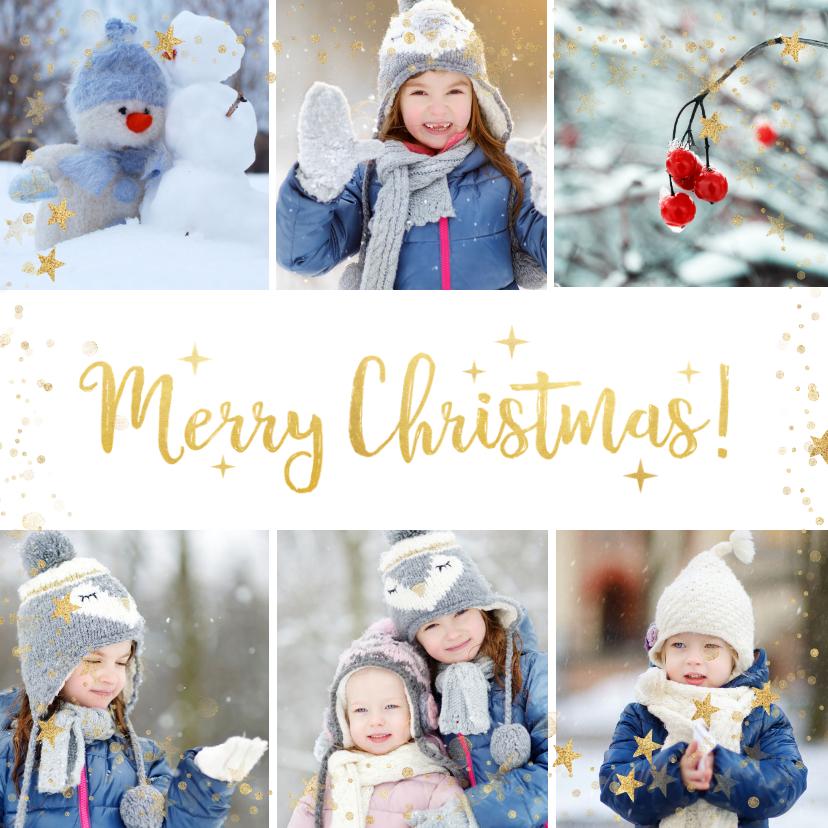Kerstkaarten - Kerstcollage met 6 foto's en goud