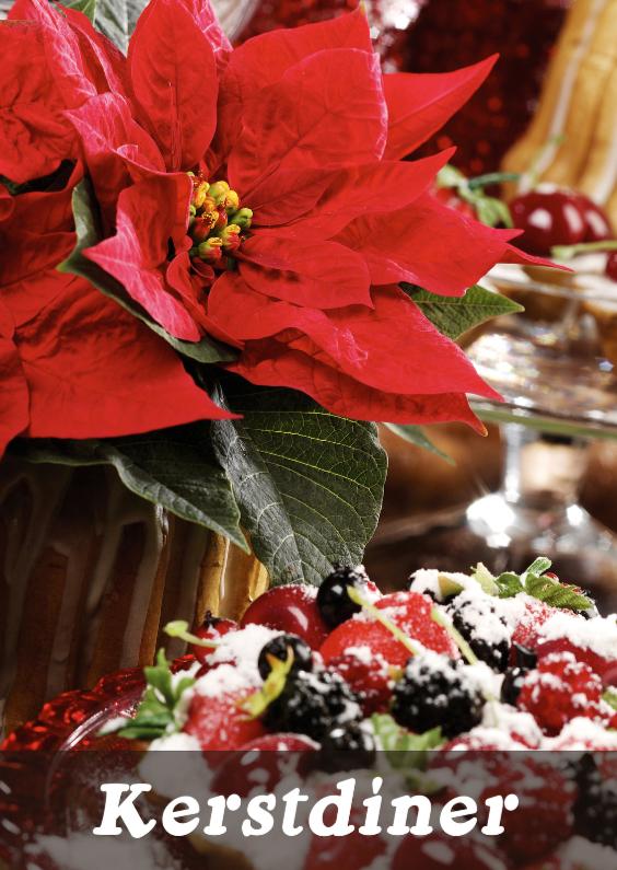 Kerstkaarten - Kerstdiner Kerstster Rood