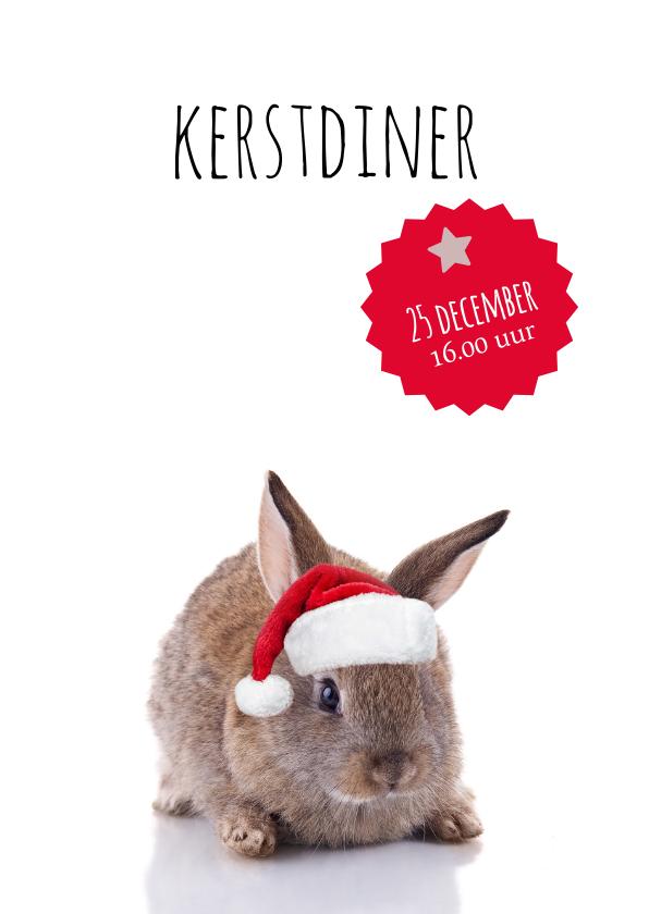 Kerstkaarten - Kerstdiner konijntje met kerstmuts
