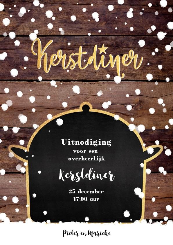 Kerstkaarten - Kerstdiner originele winterse uitnodiging