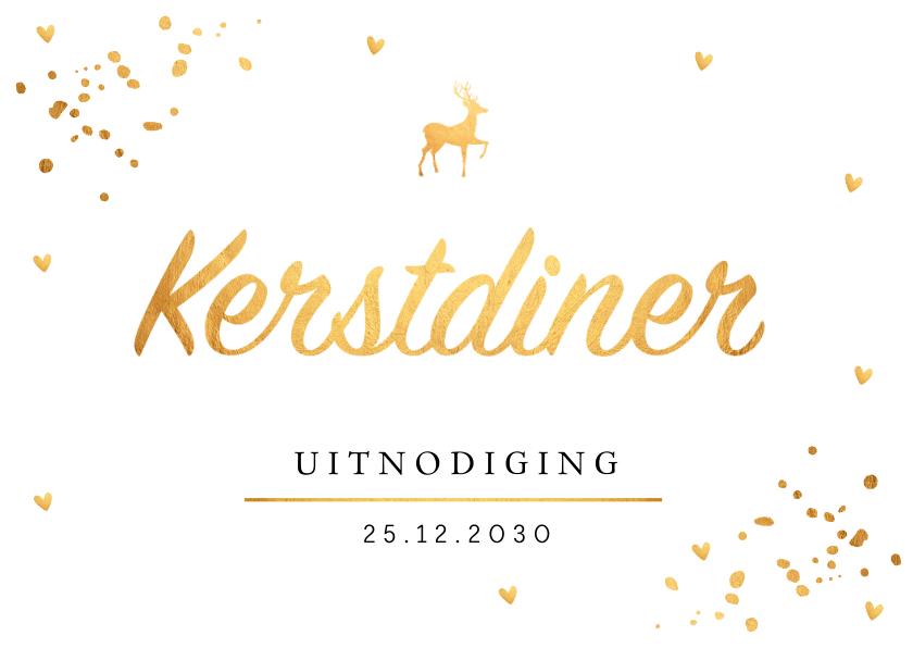 Kerstkaarten - Kerstdiner uitnodiging confetti goud - LB