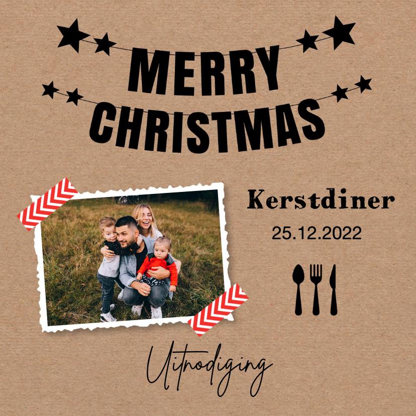 Kerstkaarten - Kerstdiner uitnodiging foto kraftlook