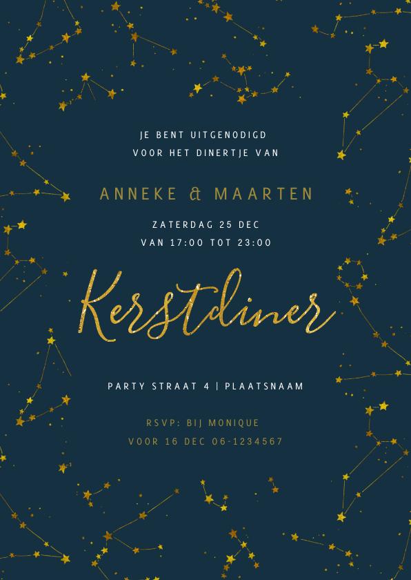 Kerstkaarten - Kerstdiner uitnodiging Goud Sterren nacht