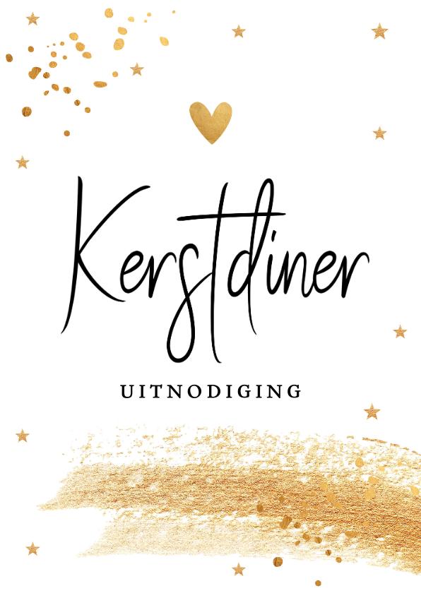 Kerstkaarten - Kerstdiner uitnodiging met gouden confetti en brush
