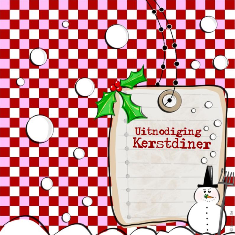 Kerstkaarten - Kerstdiner uitnodiging ruitjes sneeuwpop