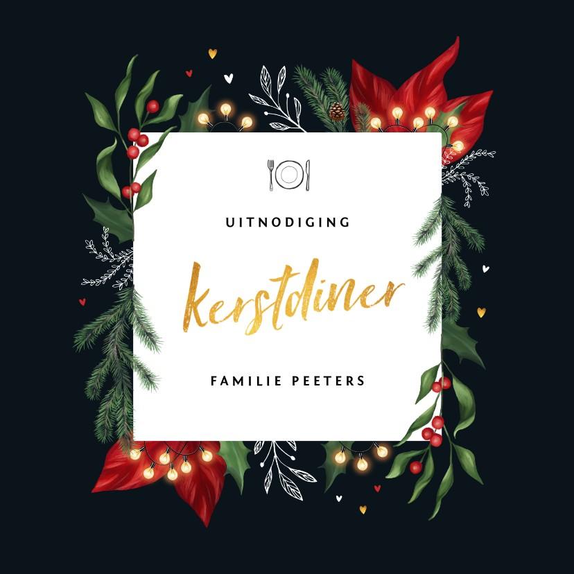 Kerstkaarten - Kerstdiner uitnodiging stijlvol met winterse elementen