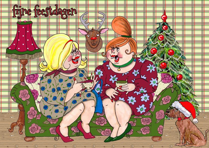 Kerstkaarten - kerstfeest op de bank