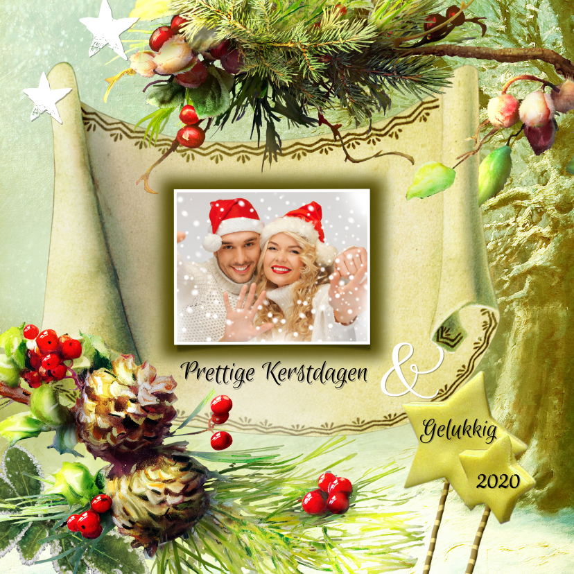 Kerstkaarten - Kerstgroet eigen foto winterbos 2020