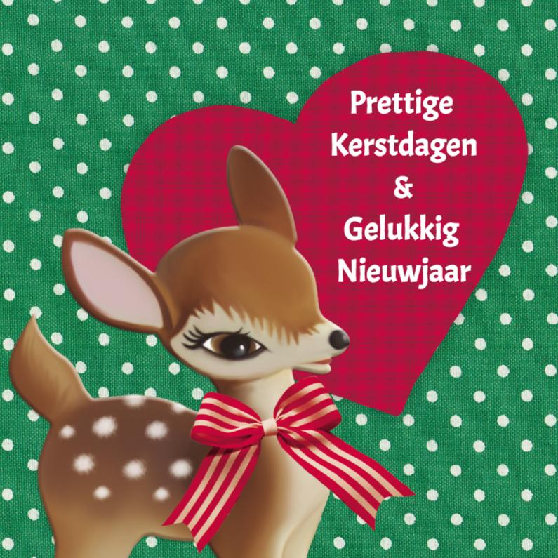 Kerstkaarten - kersthert met hart