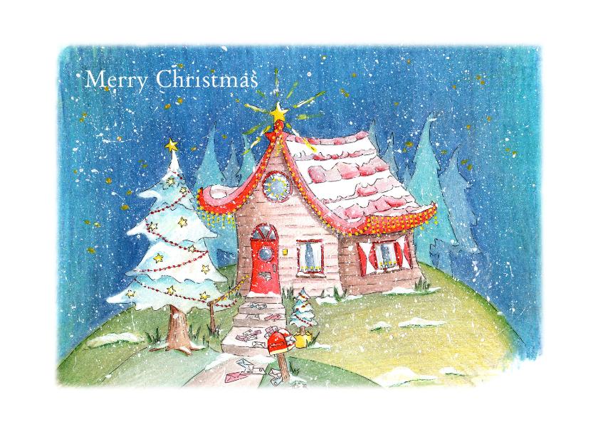 Kerstkaarten - Kersthuisje in de sneeuw