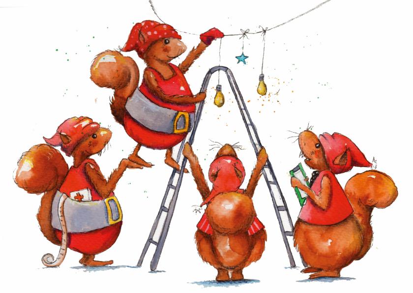 Kerstkaarten - Kerstige eekhoorngroetjes van ons