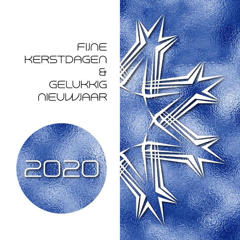 Kerstkaarten - Kerstkaart 2020 grafisch blauw print