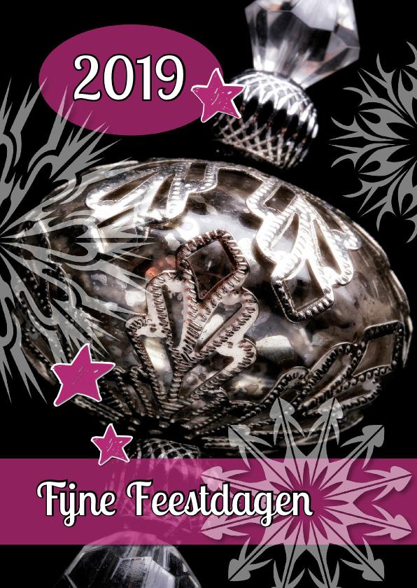 Kerstkaarten - Kerstkaart 2019 Kerstbal Zilver - OT