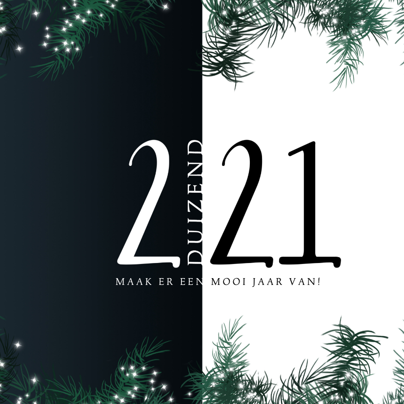 Kerstkaarten - Kerstkaart 2020-2021 eenvoudig met kersttakjes lichtjes
