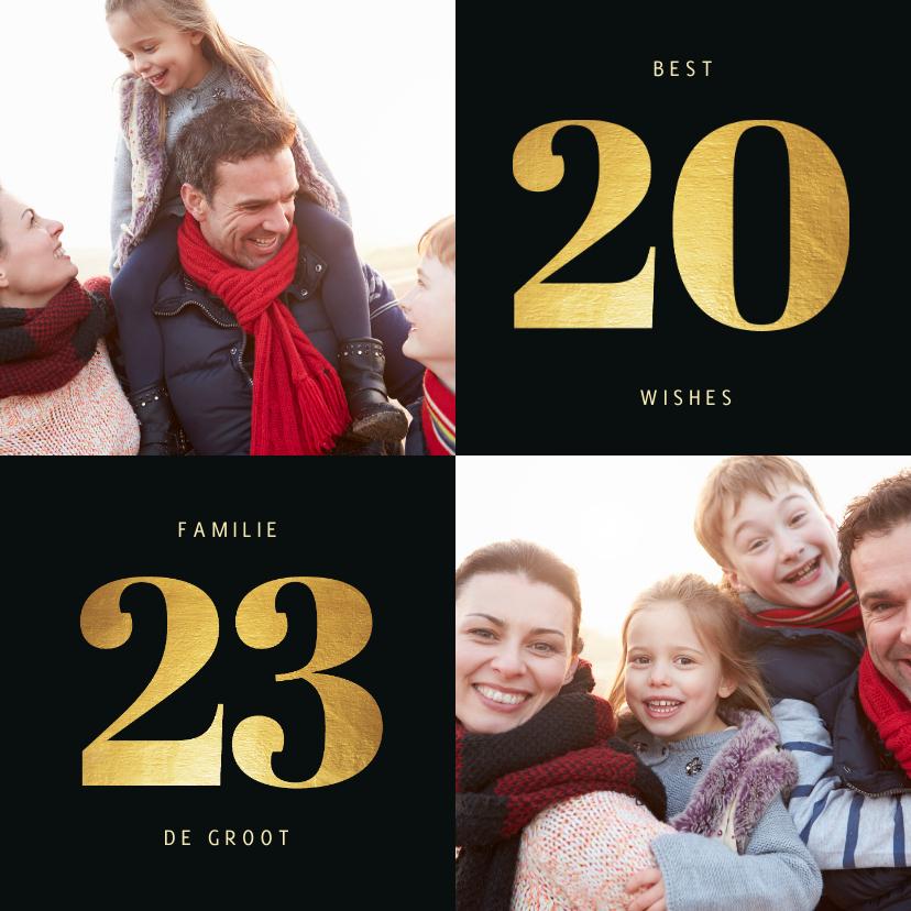 Kerstkaarten - Kerstkaart 2022 goudlook met 2 foto's