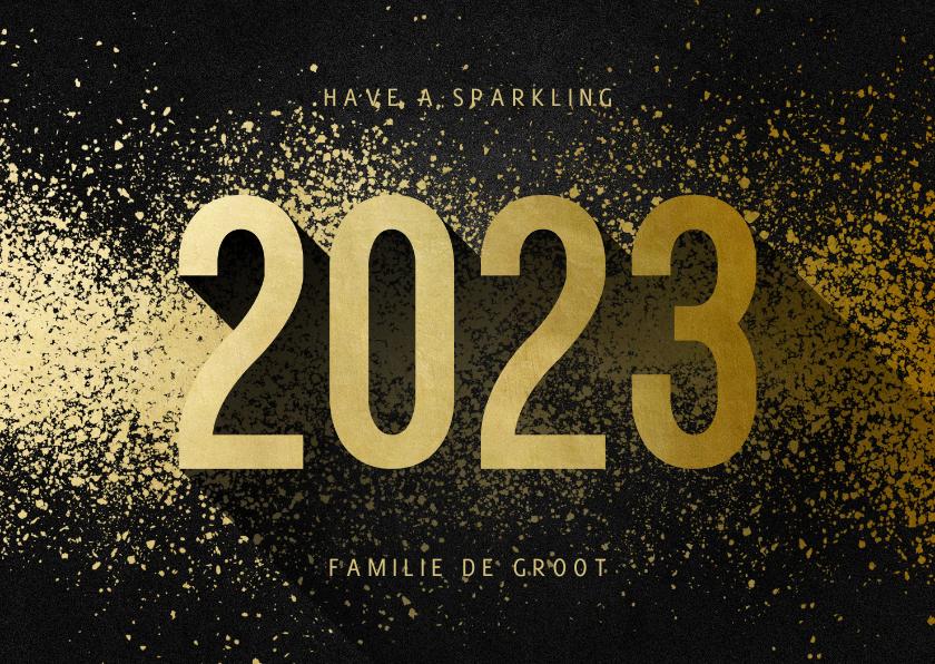 Kerstkaarten - Kerstkaart 2022 goudlook met spetters
