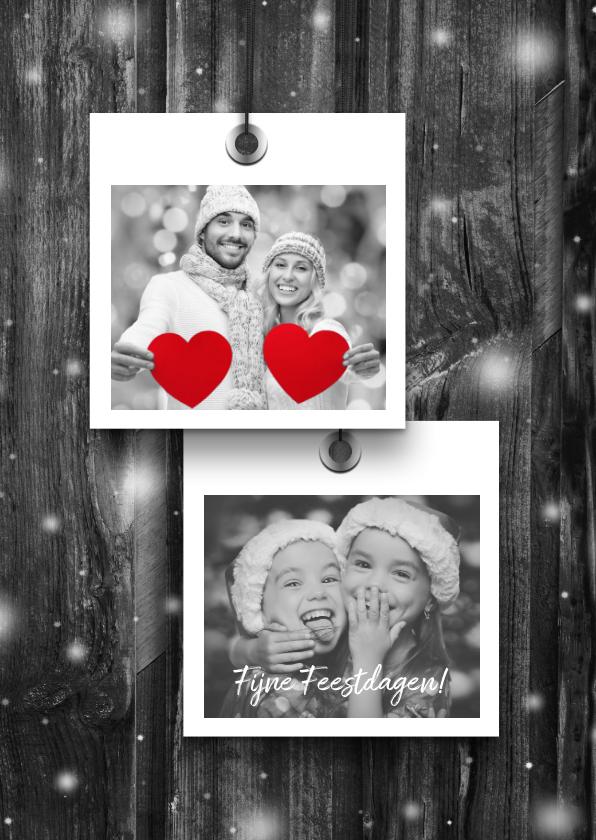 Kerstkaarten - Kerstkaart 2x foto op grijs hout